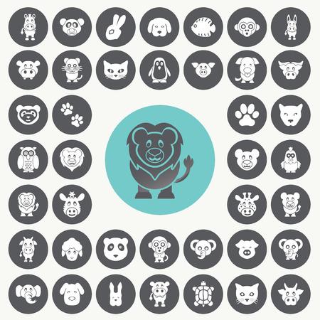 funny animal: Funny Animal icons set.