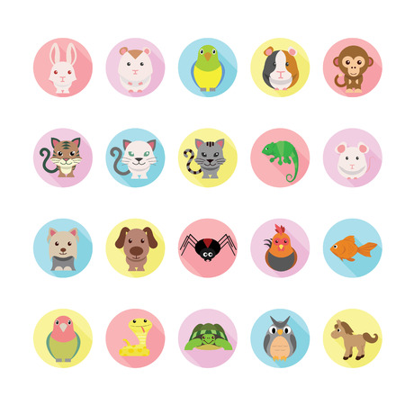 Pets icons set.