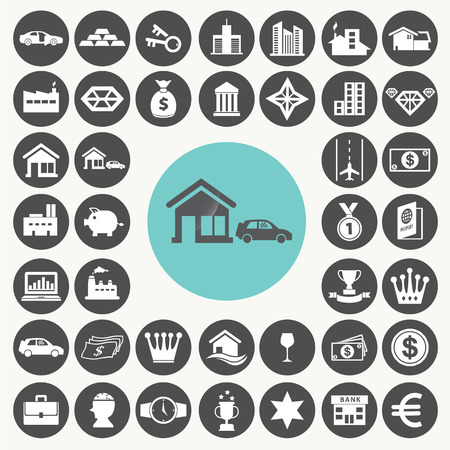 chattel: Asset and property icons set