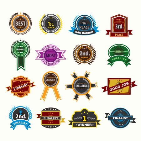 Award badges icons set. Vector