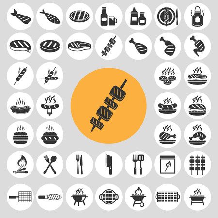 Barbecue icons set.  Vector