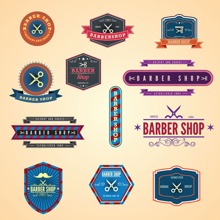 straight razor: Set of vintage barber shop graphics and icons.