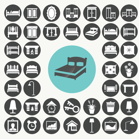 Bedroom Furniture and Accessories icons set. Vector