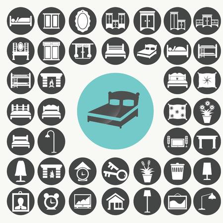 Camera da letto mobili e accessori Set di icone. Archivio Fotografico - 33068874