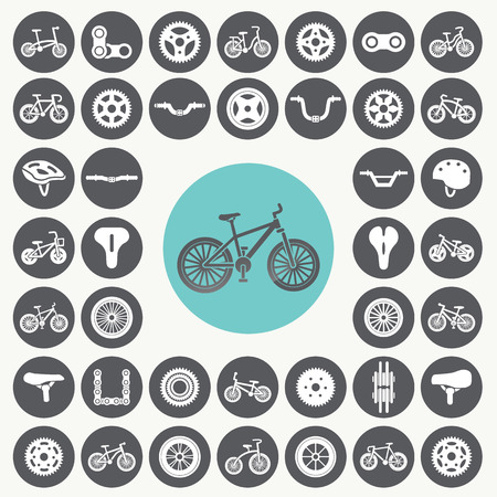 Bicycle icons set. Vector