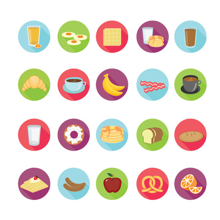 Breakfast icons set. Vector