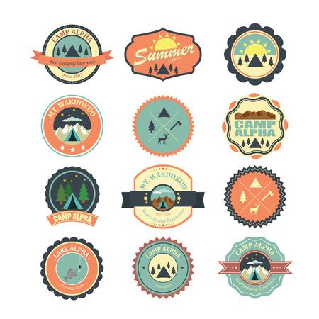 boy scouts tent: Set of vintage outdoor camp badges and emblems.  Illustration