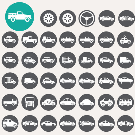 Car icons set.  Vector