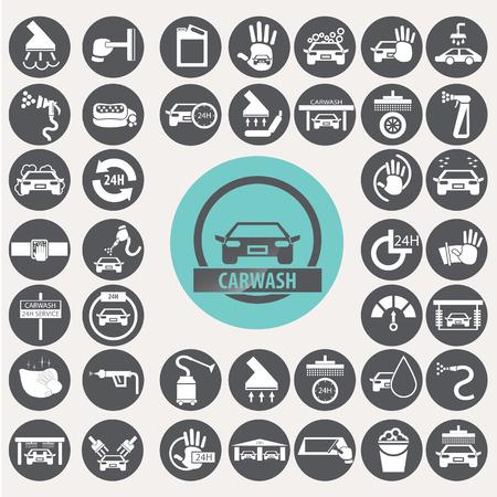 Car wash icons set.  Illustration