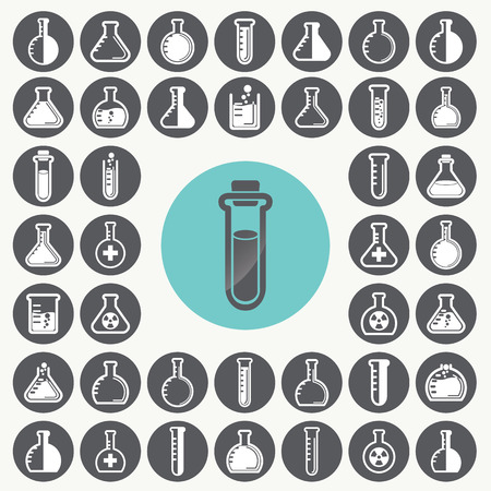 Chemical test tubes icons set. Illustration