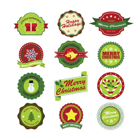 hang tag: Christmas Collection of labels and frames design elements.