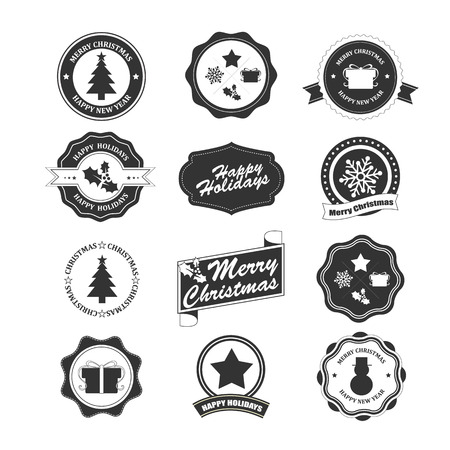 Set of labels and elements for Christmas and New Year and Holiday Vector