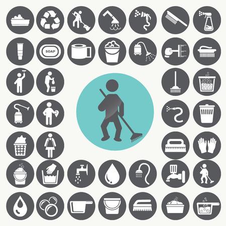 laundry hanger: Iconos Set de limpieza.
