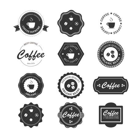 barista: Set of vintage retro coffee badges and labels Illustration