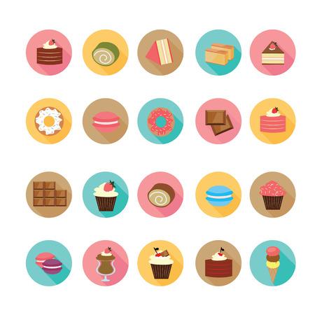 flan: Set of flat design dessert icons