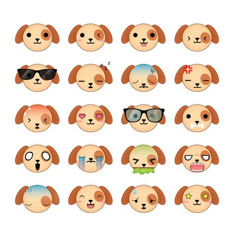 Dog smiley faces icon set. Illustration