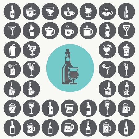 whie wine: Drink icons set. Illustration
