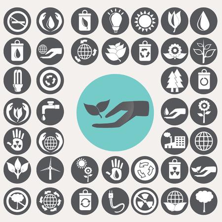 Ecology icons set. Illustration
