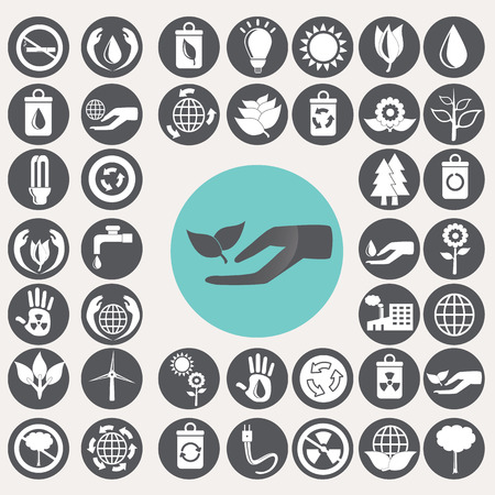 Ecology icons set. Vector
