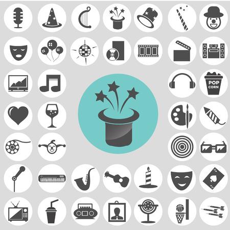 Entertainment icon set. Vector