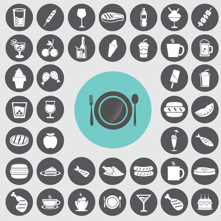 Fast food icone set. Archivio Fotografico - 33069160
