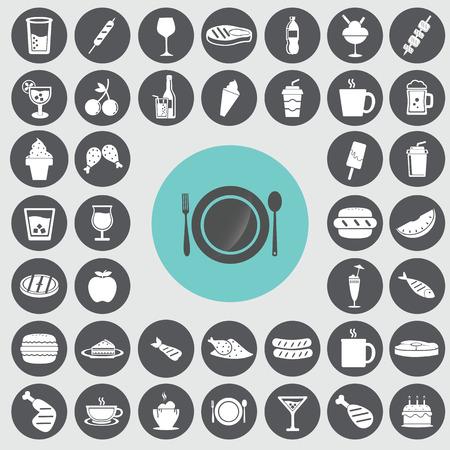 Fast food icons set. Ilustração