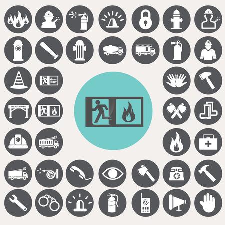 Fire service icons set. Фото со стока - 33069154