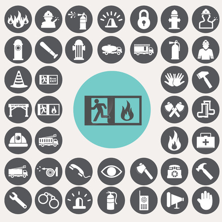 Fire service icons set. Vector
