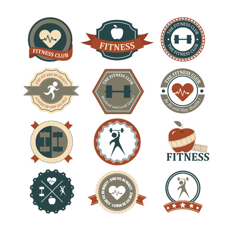 Set of various sports and fitness graphics and icons Иллюстрация