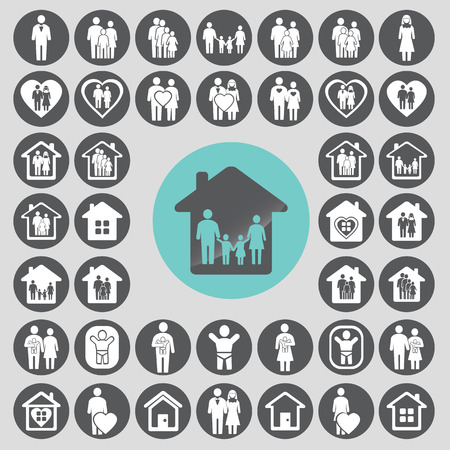 Family icons set.  Illustration