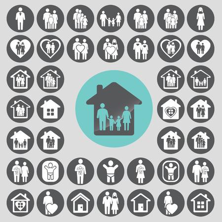 medium group of people: Family icons set.  Illustration
