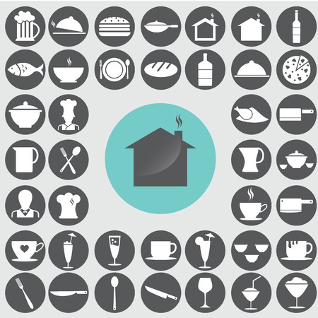 Restaurant icons set. Illustration
