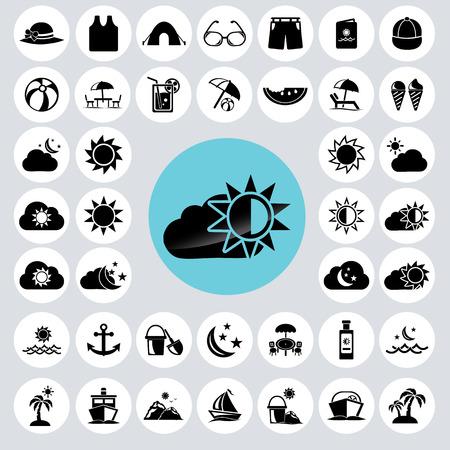 beach towel: Summer icons set.