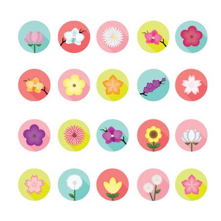poppy flower: Flower icons set.