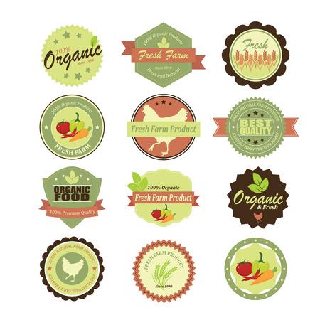Organic food labels and elements. Иллюстрация