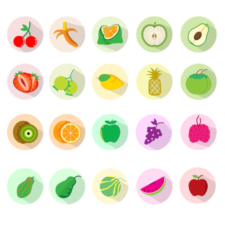 Fruit icon sets. Vector