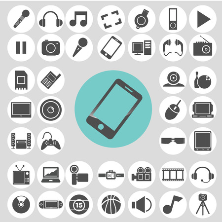 Gadget and entertainment icon set. Vector