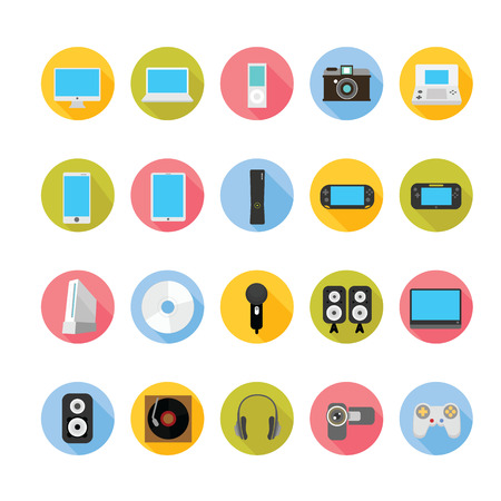 indie: Gadgets and entertainment icons set.