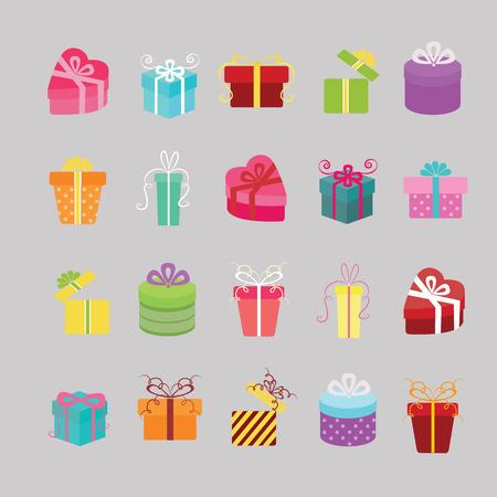 Gift box icons set.