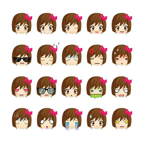Girl icons set.