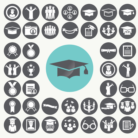 Graduation and Education icons set.