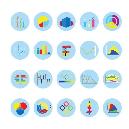 Graph and Chart icons set. Иллюстрация