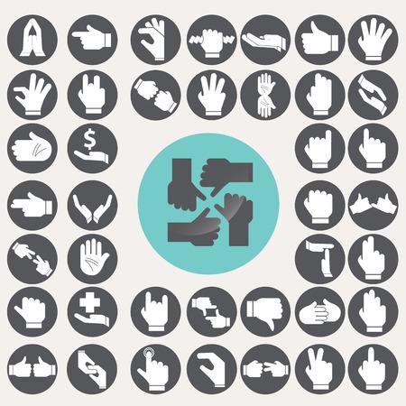 Sign Language Hands icons set.  Иллюстрация