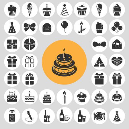 Happy birthday icon set.