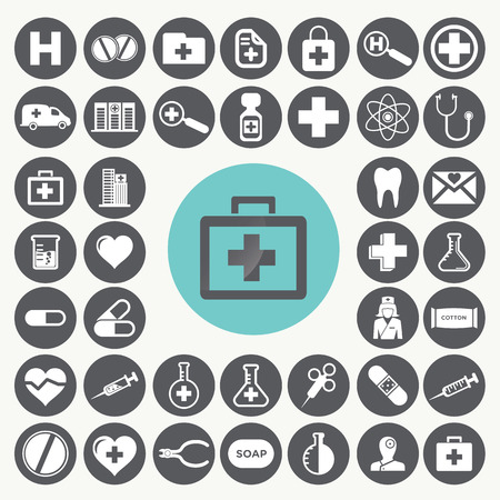 Medical and Healthcare icons set. Illustration