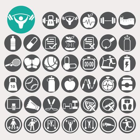 pilates ball: Health and fitness icons set.
