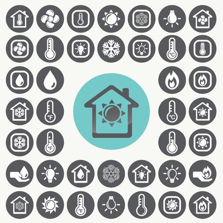 termómetro: Calefacción y refrigeración iconos conjunto.