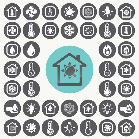 conditioner: Heating and Cooling icons set.