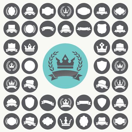 Heraldic elements icons set.