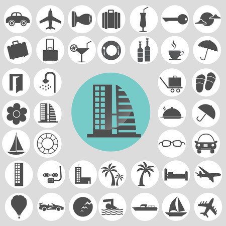 Hotel and travel icons set